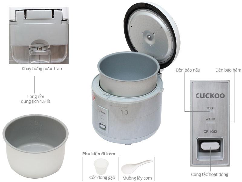 Thông số kỹ thuật Nồi cơm điện Cuckoo 1.8 lít CR-1062