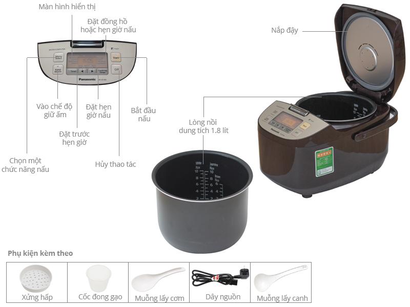 Thông số kỹ thuật Nồi cơm điện tử Panasonic 1.8 lít SR-ZS185TRAM