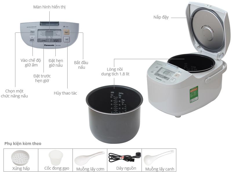 Thông số kỹ thuật Nồi cơm điện Panasonic 1.8 lít SR-ZE185WRAM