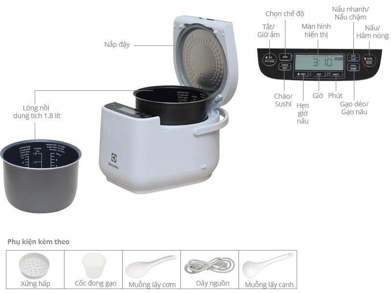 Thông số kỹ thuật Nồi cơm điện tử 1.8 lít Electrolux ERC7603W