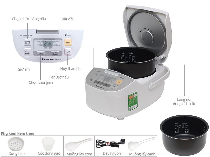 Thông số kỹ thuật Nồi cơm điện Panasonic 1 lít SR-ZE105WRAM