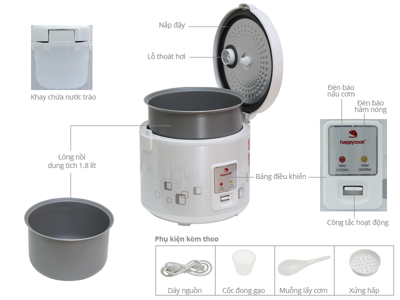 Thông số kỹ thuật Nồi cơm điện Happycook 1.8 lít HCJ-180