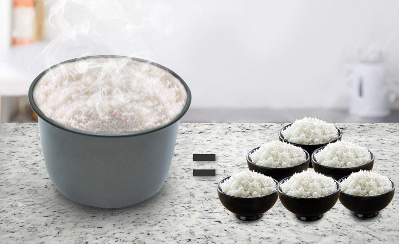 Dung tích 1.8 lít nấu cơm ngon cho 4 – 6 người dùng