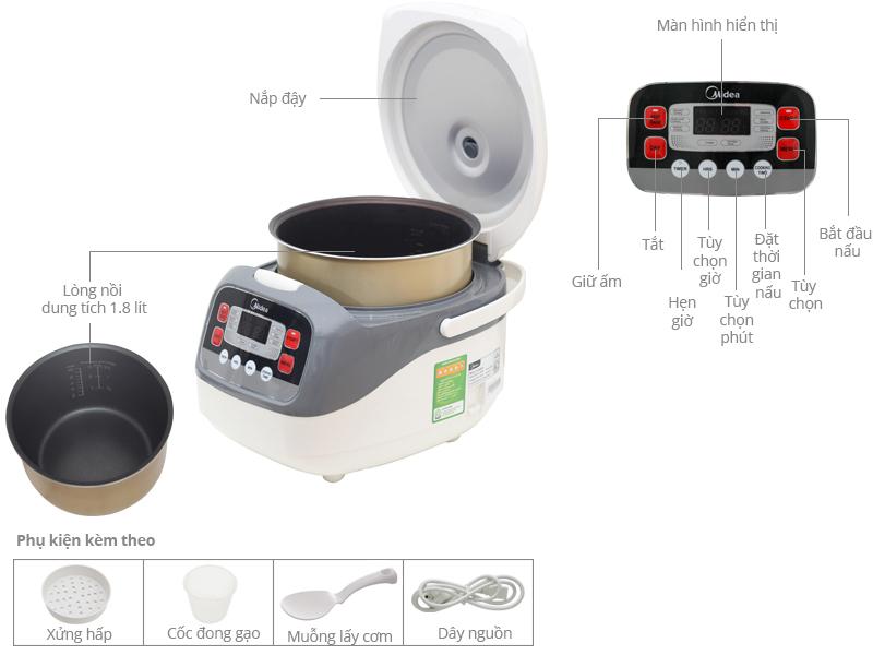 Thông số kỹ thuật Nồi cơm điện Midea 1.8 lít MR-SC18MB