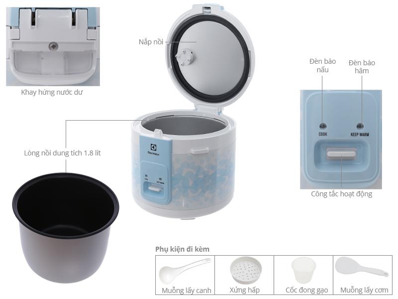 Thông số kỹ thuật Nồi cơm điện Electrolux 1.8 lít ERC3205
