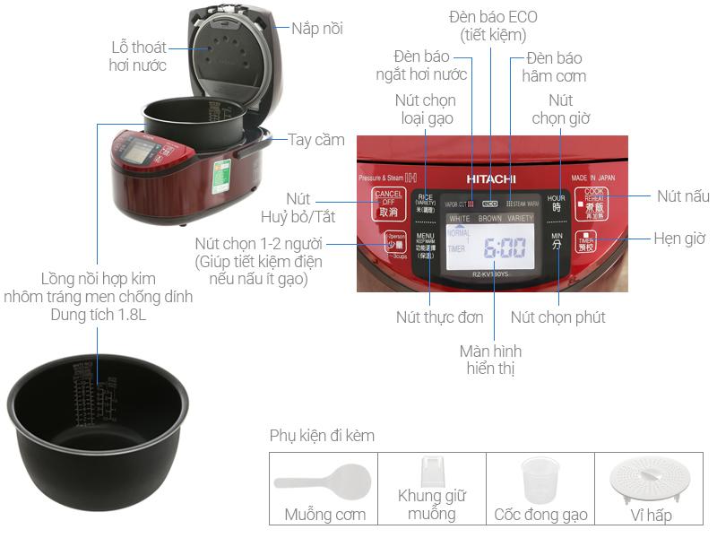 Thông số kỹ thuật Nồi cơm điện cao tần Hitachi 1.8 lít RZ-KV180YS