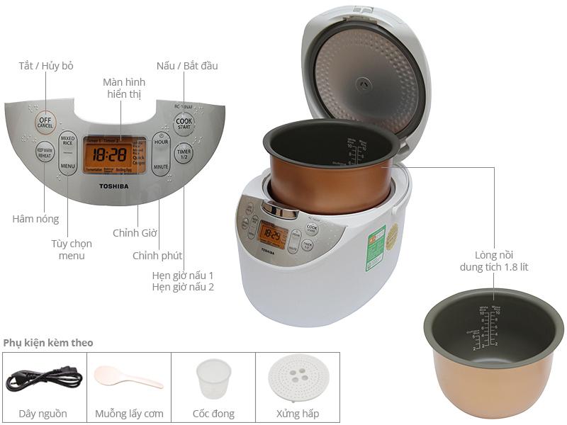 Thông số kỹ thuật Nồi cơm điện tử Toshiba 1.8 lít RC-18NAFVN(W)