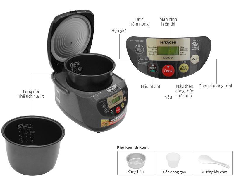 Thông số kỹ thuật Nồi cơm điện tử Hitachi DMD18Y OBK Màu đen