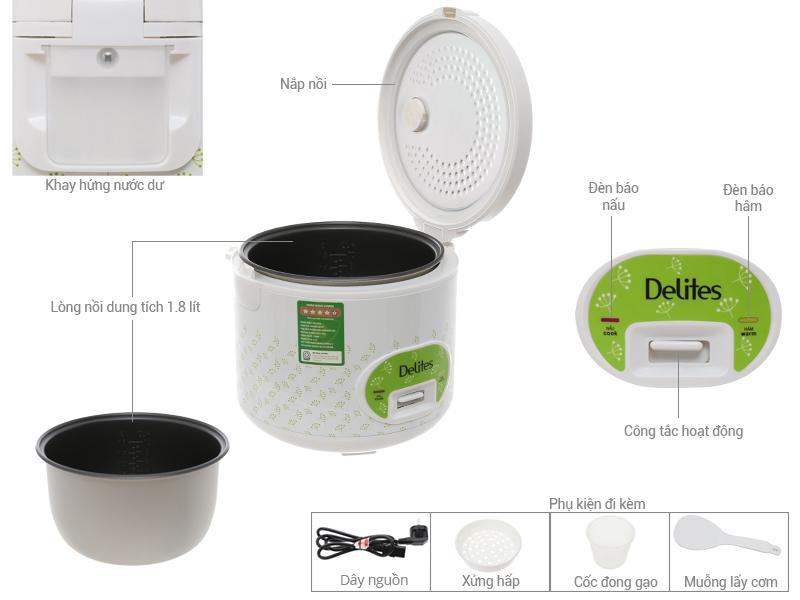 Thông số kỹ thuật Nồi cơm điện Delites 1.8 lít NCG1801 01