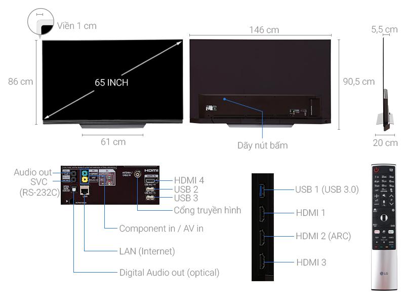 Thông số kỹ thuật Smart tivi OLED LG 65 inch 65E7T