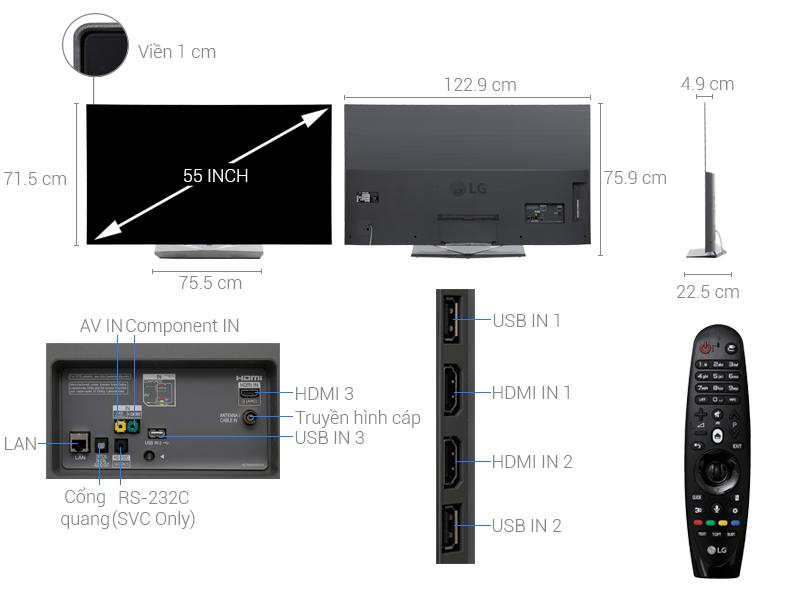 Thông số kỹ thuật Smart Tivi OLED LG 55EG9A7T(FHD)