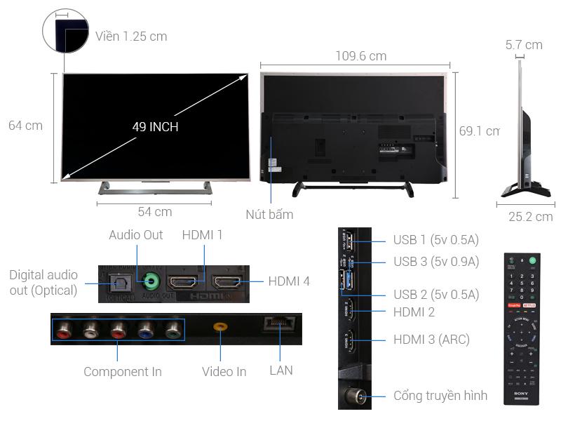 Thông số kỹ thuật Android tivi Sony 49 inch KD-49X8000E/S