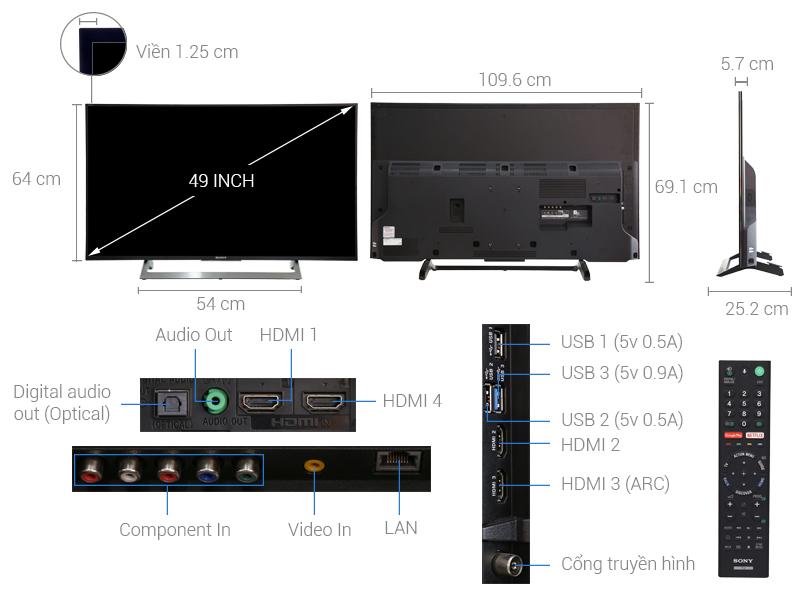 Thông số kỹ thuật Android Tivi Sony 4K 49 inch KD-49X8000E