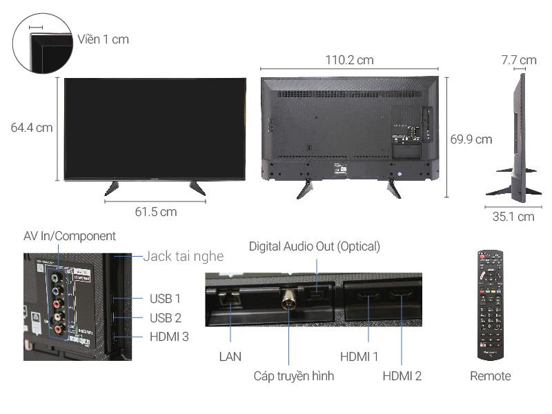 Thông số kỹ thuật Smart Tivi Panasonic 4K 49 inch TH-49EX600V
