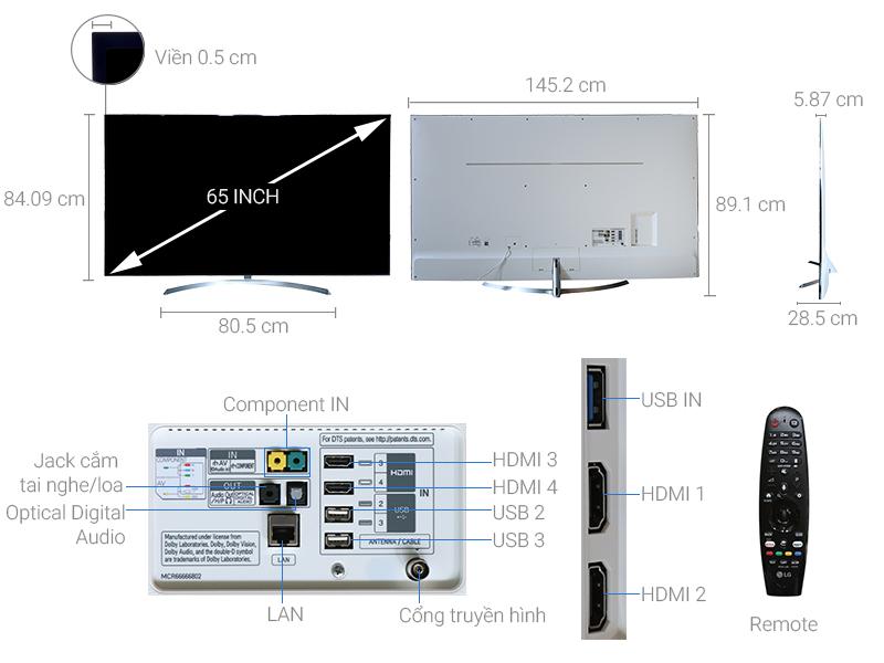 Thông số kỹ thuật Smart Tivi LG 65 inch 65SJ850