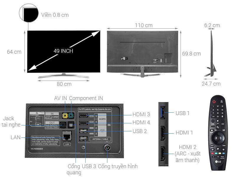 Thông số kỹ thuật Smart Tivi LG 4K 49 inch 49SJ800T