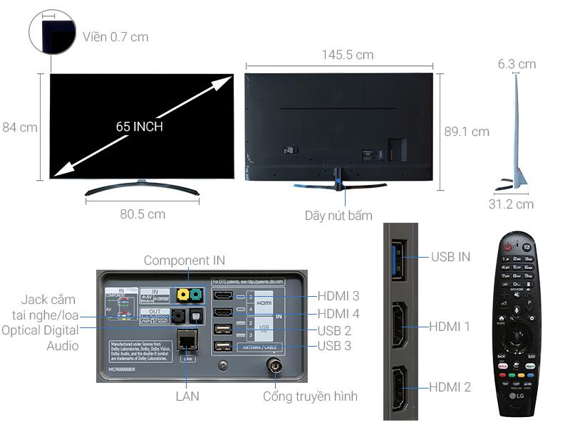 Thông số kỹ thuật Smart Tivi LG 65 inch 65SJ800T