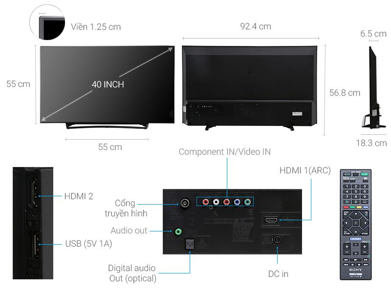 Thông số kỹ thuật Tivi Sony 40 inch KDL-40R350E