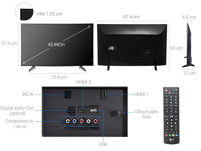Thông số kỹ thuật Tivi LG 43 inch 43LJ510T