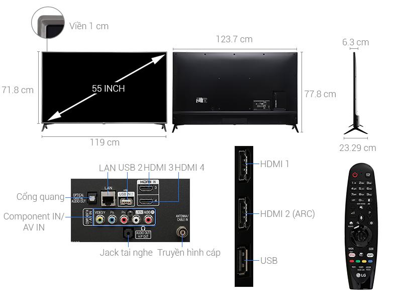 Thông số kỹ thuật Smart Tivi LG 55 inch 55UJ652T