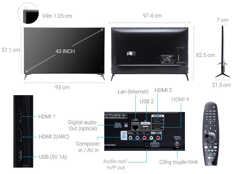 Thông số kỹ thuật Smart Tivi LG 43 inch 43UJ652T
