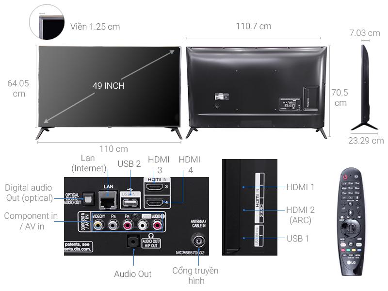 Thông số kỹ thuật Smart Tivi LG 4K 49 inch 49UJ652T