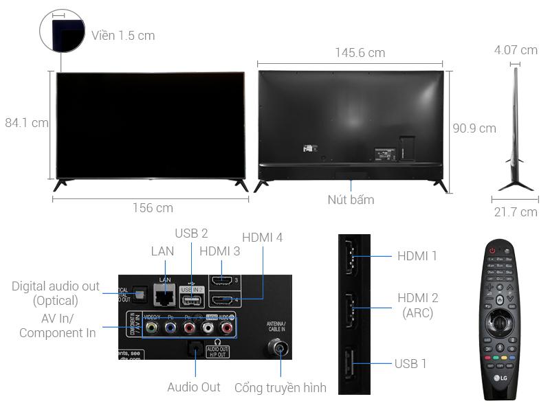 Thông số kỹ thuật Smart Tivi LG 65 inch 65UJ652T