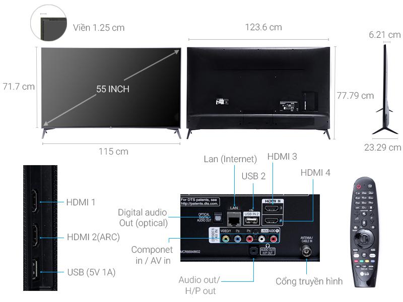 Thông số kỹ thuật Smart Tivi LG 4K 55 inch 55UJ750T