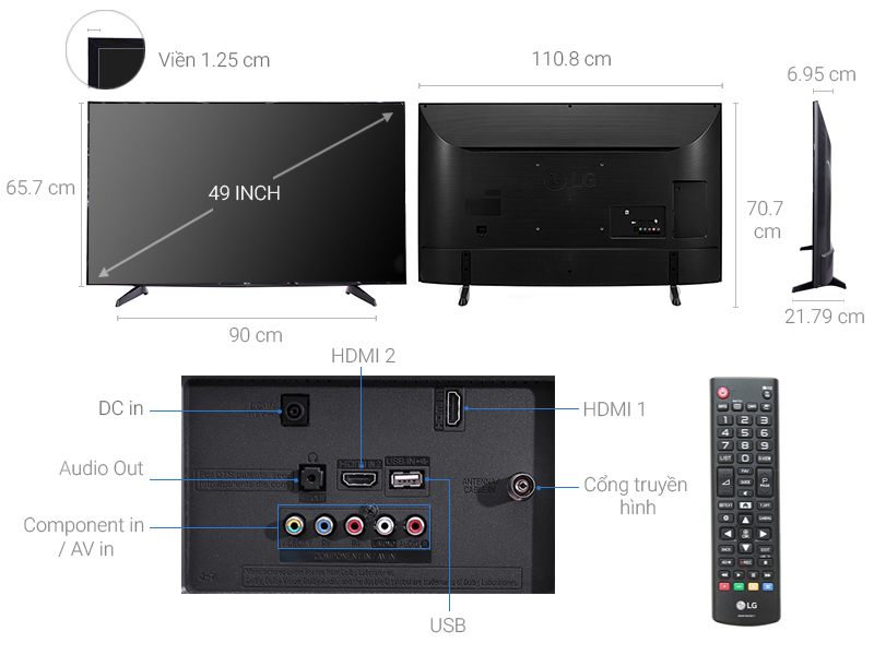 Thông số kỹ thuật Tivi LG 49 inch 49LJ510T