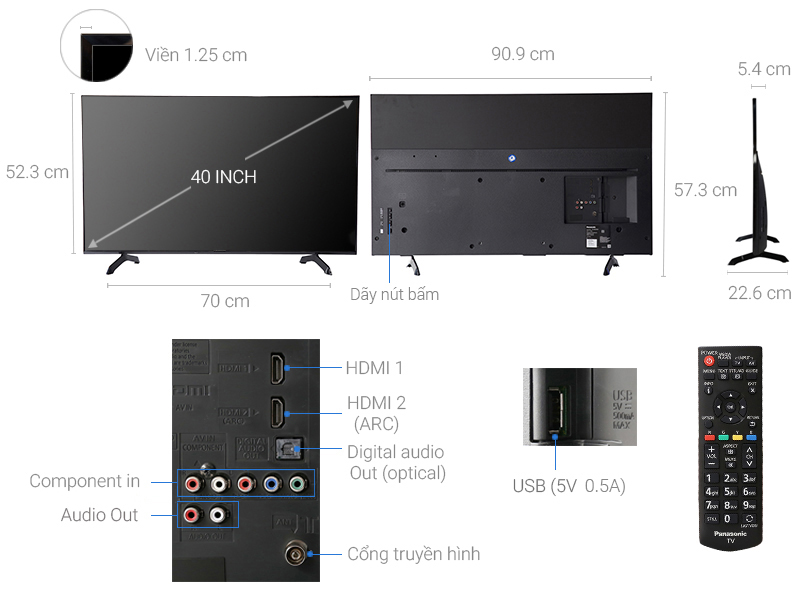 Thông số kỹ thuật Tivi Panasonic 40 inch TH-40E400V