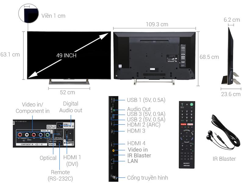 Thông số kỹ thuật Smart Tivi Sony 4K 49 inch KD-49X9000E