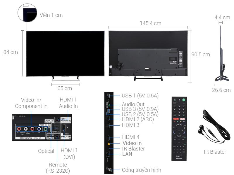 Thông số kỹ thuật Smart Tivi Sony 4K 65 inch KD-65X8500E