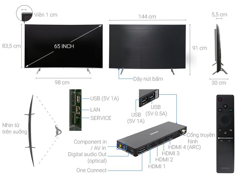 Thông số kỹ thuật Smart Tivi cong Samsung 65 inch UA65MU8000