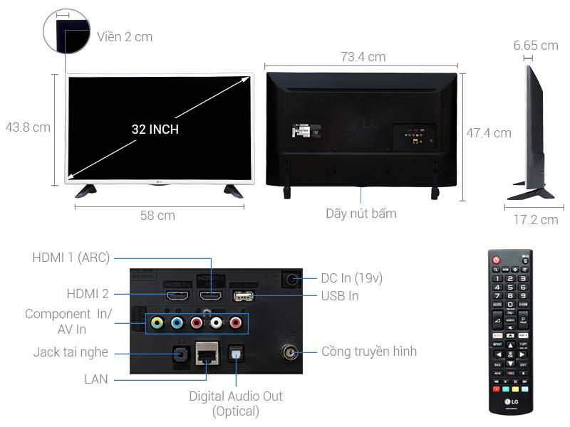 Thông số kỹ thuật Smart Tivi LG 32 inch 32LJ571D