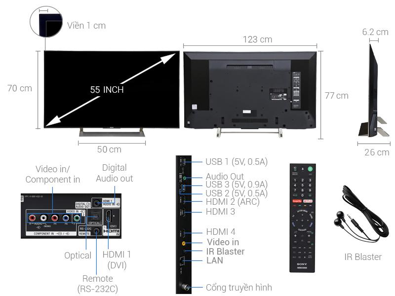 Thông số kỹ thuật Smart Tivi Sony 4K 55 inch KD-55X9000E