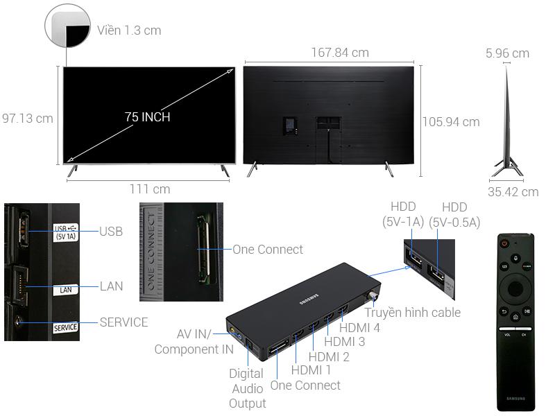 Thông số kỹ thuật Smart Tivi Samsung 4K 75 inch UA75MU7000