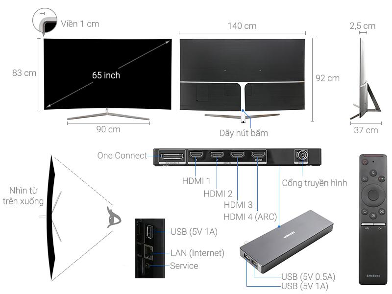 Thông số kỹ thuật Smart Tivi Samsung 65 inch UA65MU9000