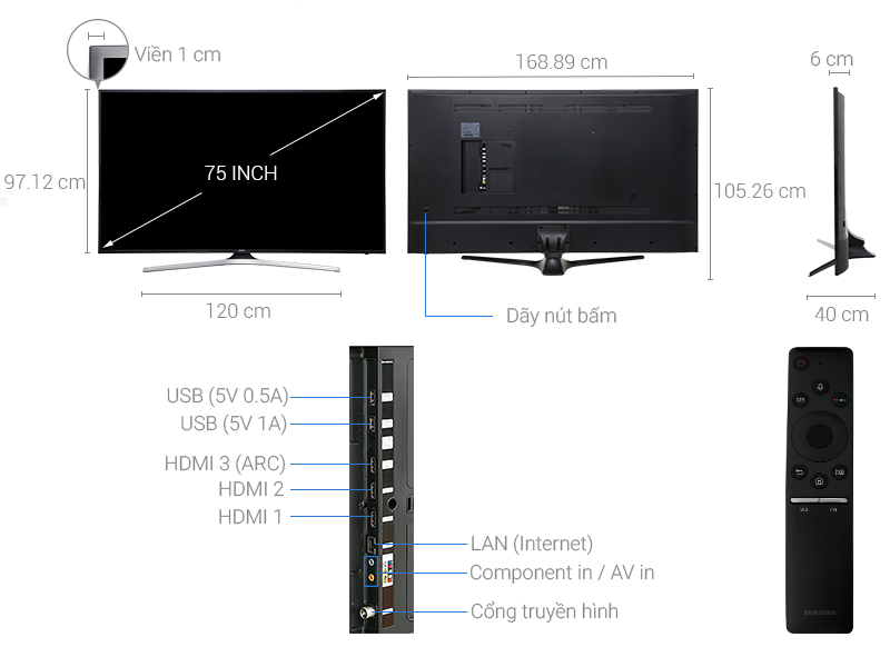 Thông số kỹ thuật Smart Tivi Samsung 4K 75 inch UA75MU6100