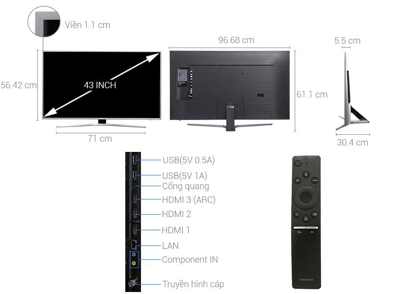 Thông số kỹ thuật Smart Tivi Samsung 4K 43 inch UA43MU6400