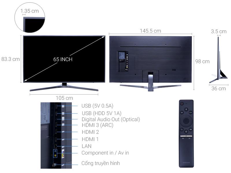 Thông số kỹ thuật Smart Tivi Samsung 4K 65 inch UA65MU6400