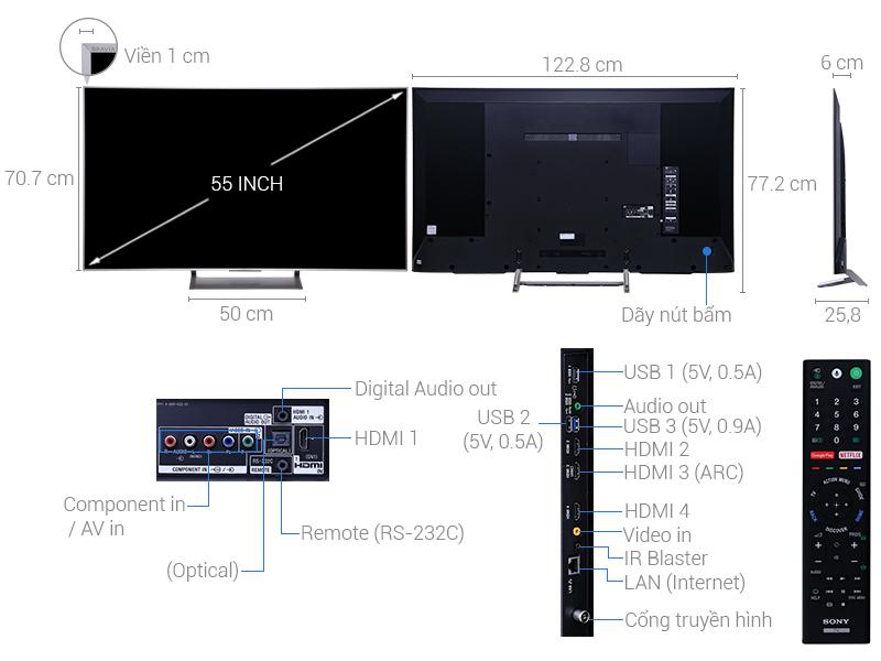 Thông số kỹ thuật Smart Tivi Sony 4K 55 inch  KD-55X9000E/S