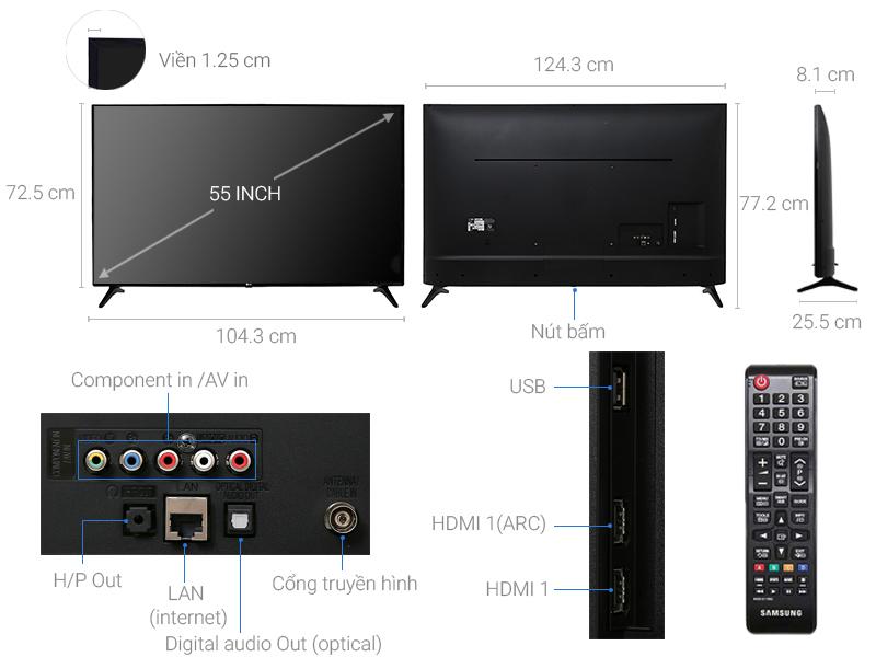 Thông số kỹ thuật Smart Tivi LG 55 inch 55LJ550T