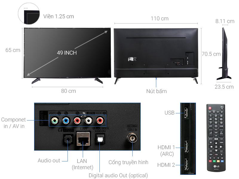 Thông số kỹ thuật Smart Tivi LG 49 inch 49LJ550T