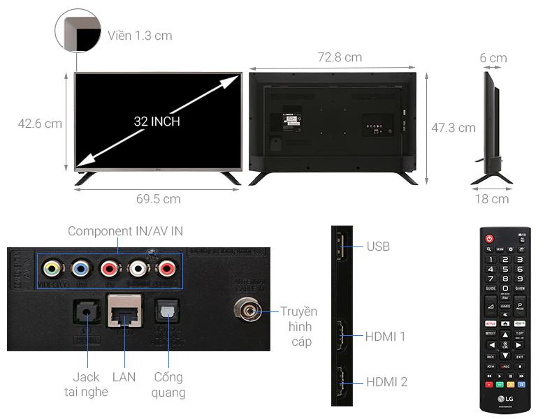 Thông số kỹ thuật Smart Tivi LG 32 inch 32LJ550D