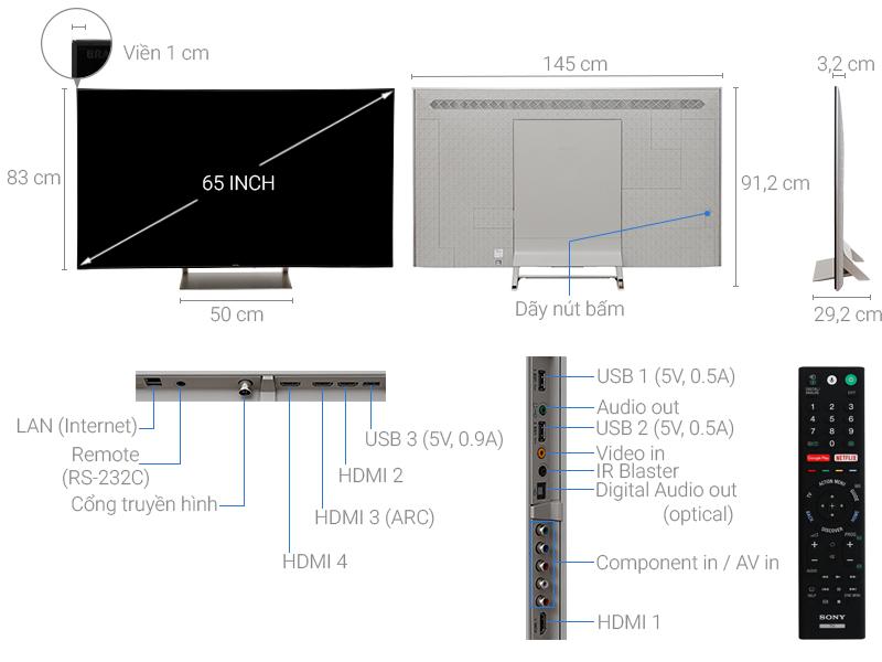 Thông số kỹ thuật Smart Tivi Sony 4K 65 inch KD-65X9300E