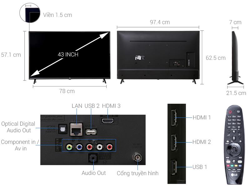 Thông số kỹ thuật Smart Tivi LG 4K 43 inch 43UJ632T