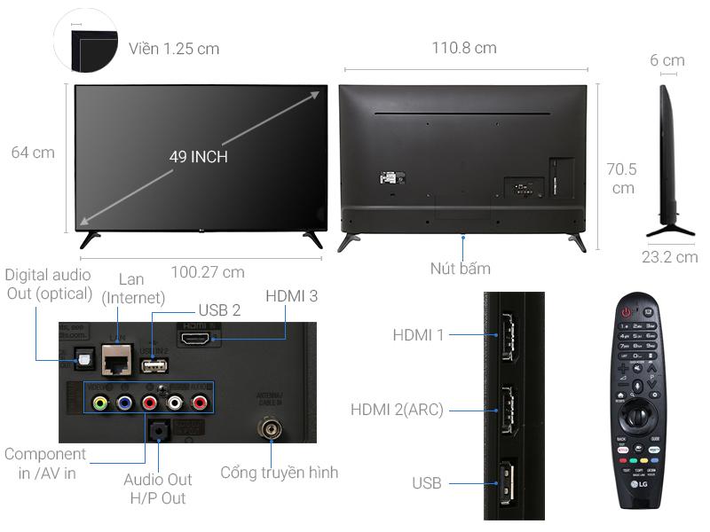 Thông số kỹ thuật Smart Tivi LG 4K 49 inch 49UJ632T