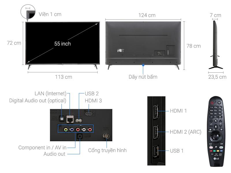Thông số kỹ thuật Smart Tivi LG 4K 55 inch 55UJ632T