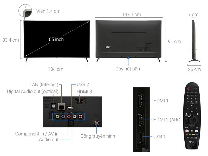 Thông số kỹ thuật Smart Tivi LG 4K 65 inch 65UJ632T