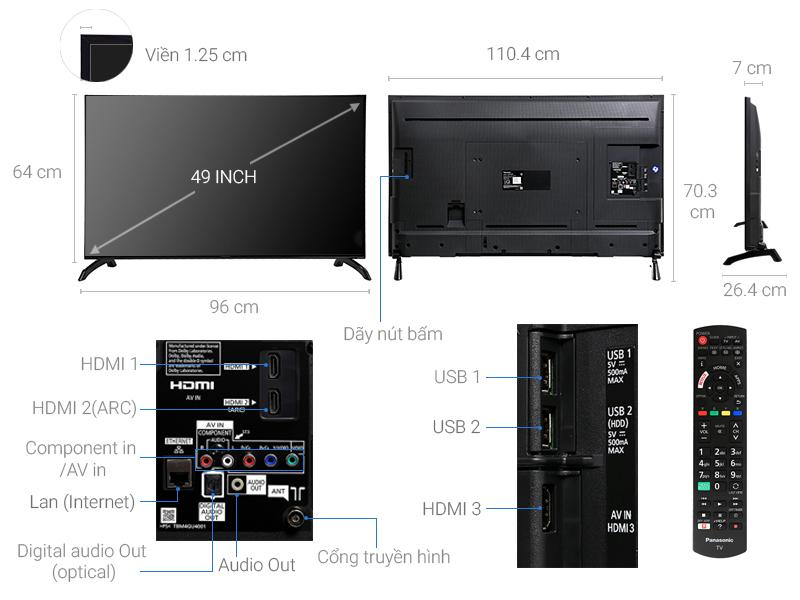 Thông số kỹ thuật Smart Tivi Panasonic 49 inch TH-49ES500V